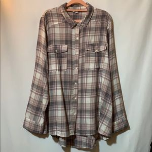 xl Loose fit swing style plaid shirt